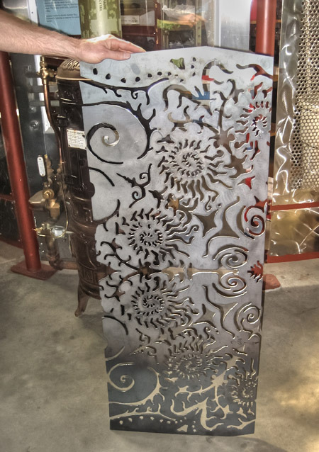 Plasma cut steel panel - wicked cool!