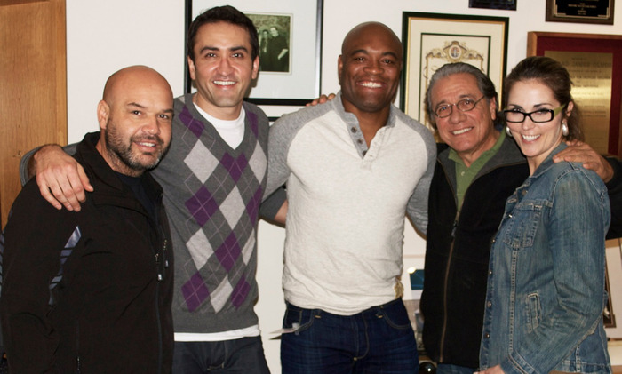 From L to R - Ed Soares, Marty Sader, Anderson Silva, Edward James Olmos & Me