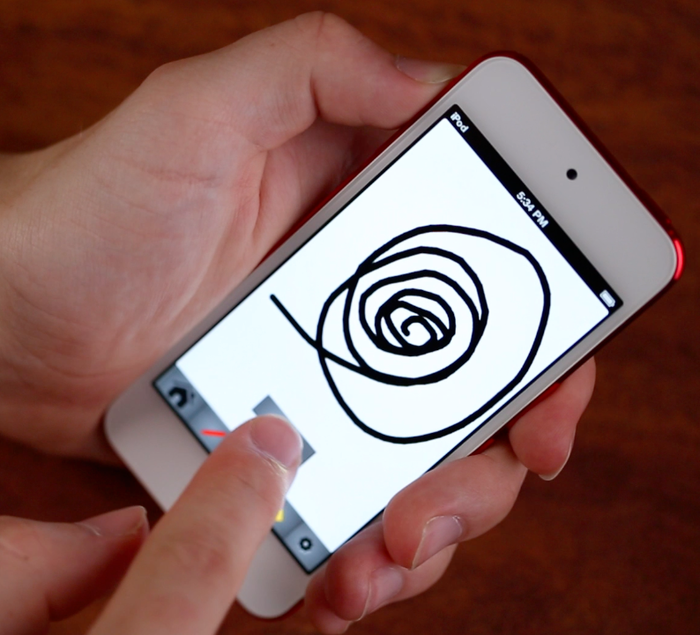 Drawing lines with a prototype of the Sketch'd drawing screen on an iPod Touch 5th gen.
