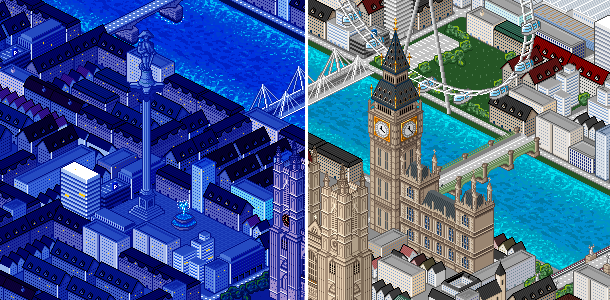 Explore a detailed 786,432 pixel version of the City of London and hunt ghosts in famous buildings by day and night. Can you find Picadilly circus?
