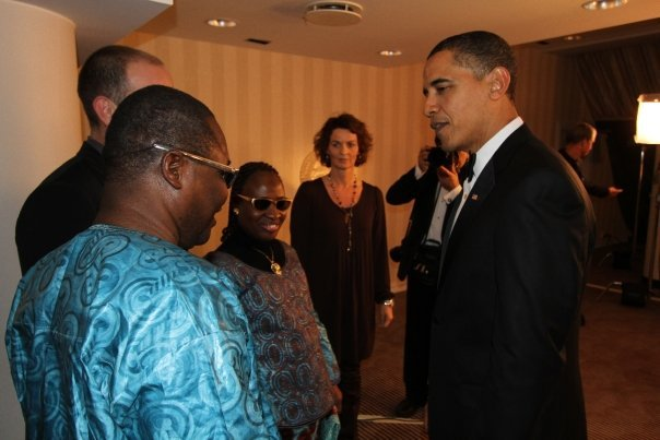 Amadou and Mariam meet President Obama at the Nobel Peace Prize.
