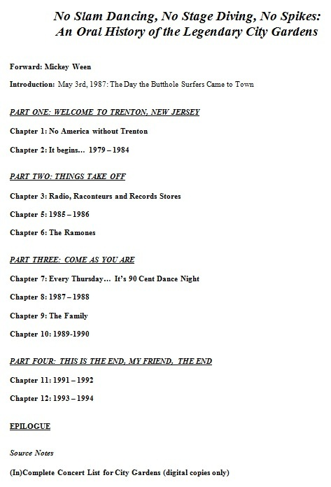 No Slam Dancing: Table of Contents