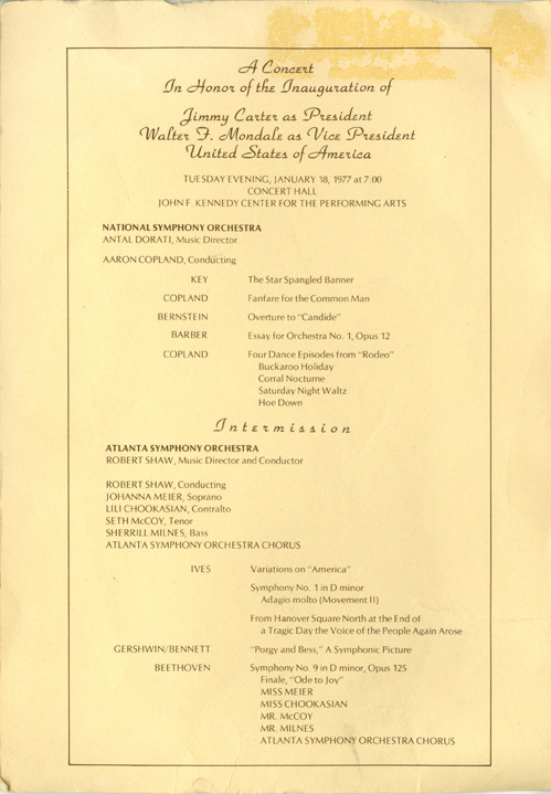 "The ASO took the world stage in 1977 when President Carter invited the Orchestra and Chorus to D.C. to perform in the inauguration ceremonies. Paul Hurne, Washington's most respected critic, called the evening ""the greatest inaugural concert in history."""