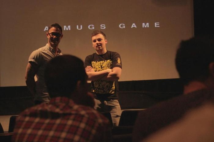 Alexx and Adam - saying a few words at the London Screening of A Mugs Game Promo