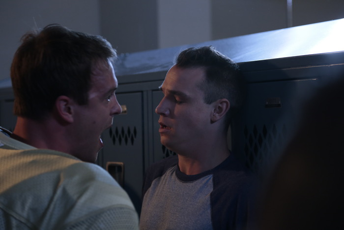 Sean Kleier and Corey Camperchioli in the locker room