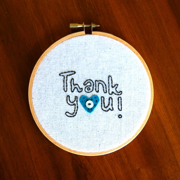 """Decorative """"Thank You"""" embroidery hoop"""