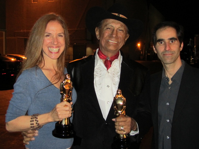 Filmmakers Jennifer Jessum and Simon J. Joseph with Russell Means at the Red Nation Film Festival Awards Ceremony in Los Angeles