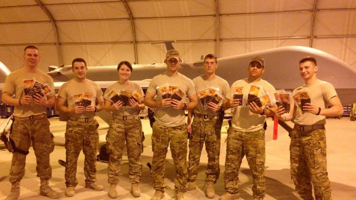 "Our troops in Afganistan received their care package. Courtesy of SrA Rob ""Stitch"" Bing 62 ERS Det 1"