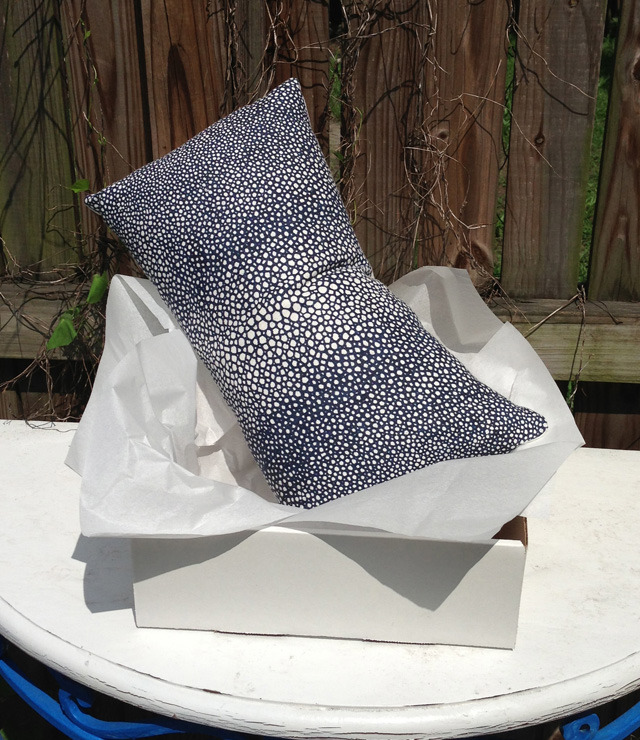 "Navy Shagreen Pillow, 12"" x 20"""