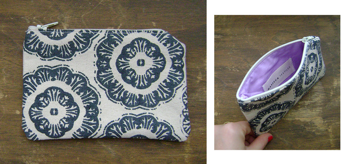 "Navy Medallion print coin purse, 4"" x 6"" w/ lavender lining"