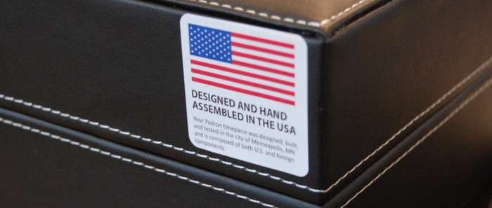 The origin label on the box. Each Tessera is hand-assembled in the USA