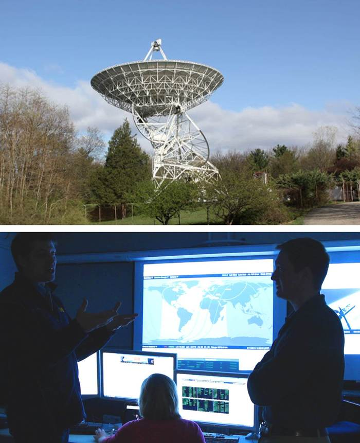 The Peach Mountain satellite communication station, upper. The Michigan Space and Atmospheric Research Control Center (M-SPARCC), lower.