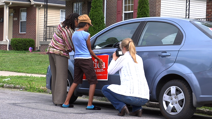 In action! Filming with Councilwoman, Attica Scott