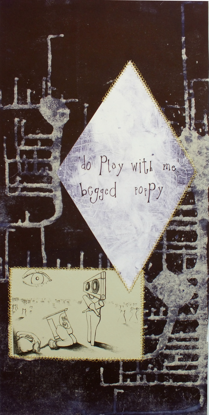 'Do Play With Me', text-based, monoprint collage with gold embroidery, measures 52 x 24.7cm