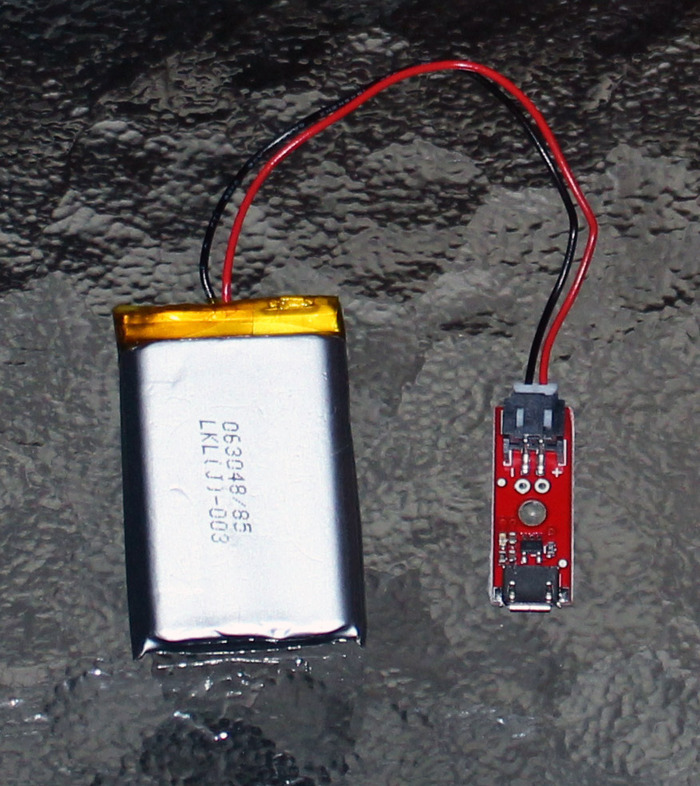 Rechargeable Lithium-Polymer Battery + Micro-USB Charging Circuit