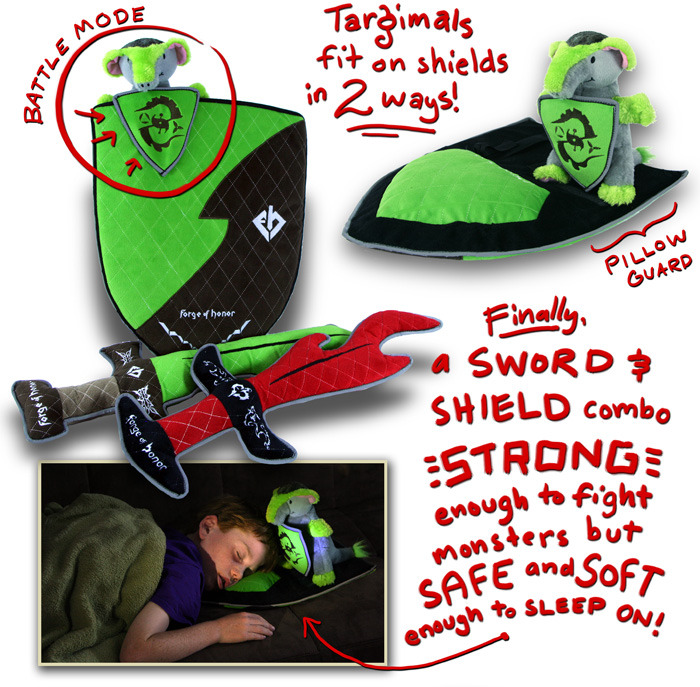 Targimals fit on shields 2 ways: Battle mode and guardian mode (nap time). These toys are designed for children ages 3 and up.