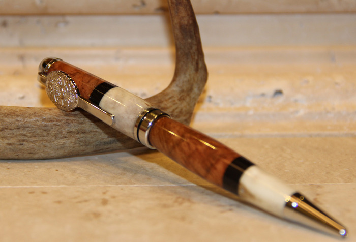 Limited Reward #11 Custom Designed Amboyna Burl, Ebony & White Tail Deer Antler with Police Badge Clip
