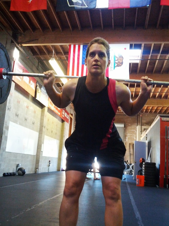 Sheri killing it at her Crossfit workout, two weeks after her final treatment