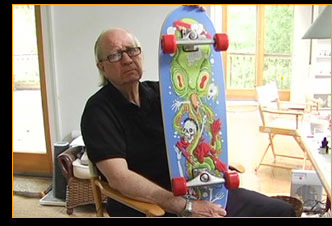 Gahan and his custom Carver Edition skateboard (one of our rewards) --->