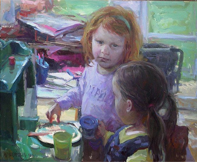 Playtime, oil on board, 16 x 20 ins.