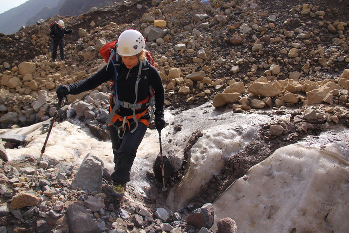 Crossing an icy rock field around 10,000' up Mt. Ararat