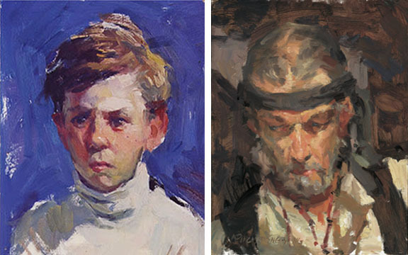 Portraits, oil on board