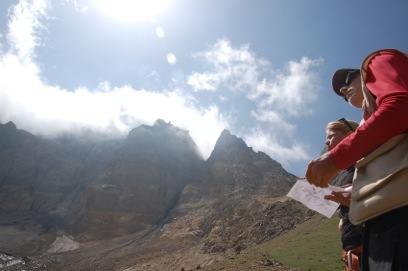 Gius and me at about 12,000' studying a map drawn by Ed Davis