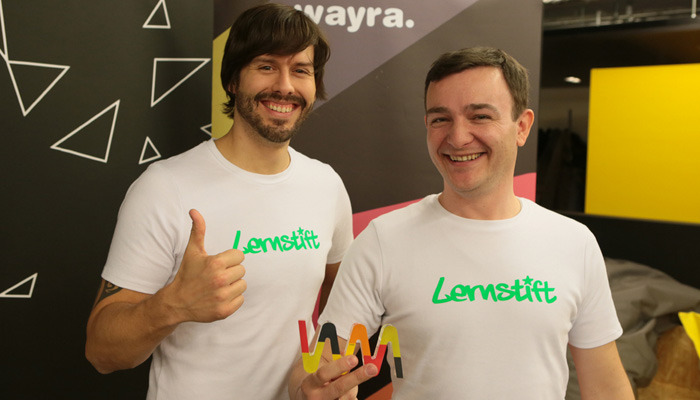 Shiny happy founders after winning the WAYRA pitch