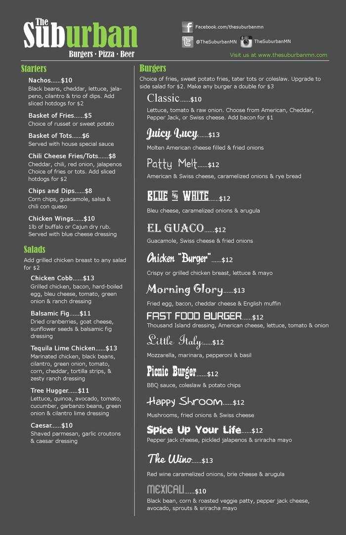 First Draft of The Suburban's Menu - Page 1