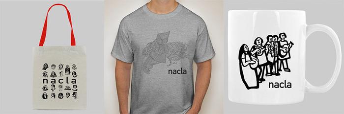 NACLA tote, t-shirt, and mug