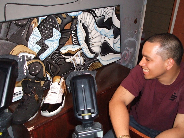 Artist Fernando expresses his love for the Air Jordan through his paintings.