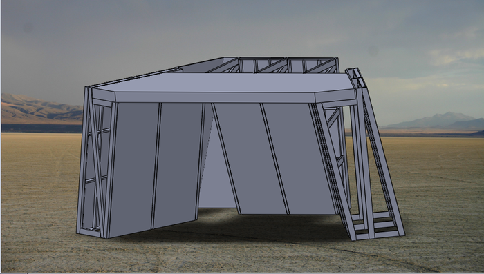 A CAD model of the wall, showing the internal structure (minus some cross braces).