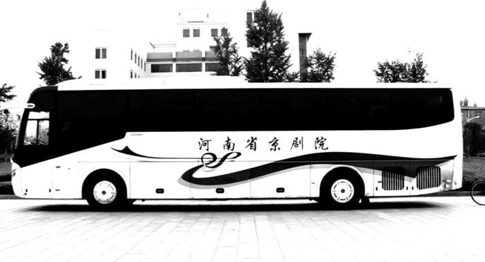 MarchFourth's China tour bus staged at Henan University, in Kaifeng.
