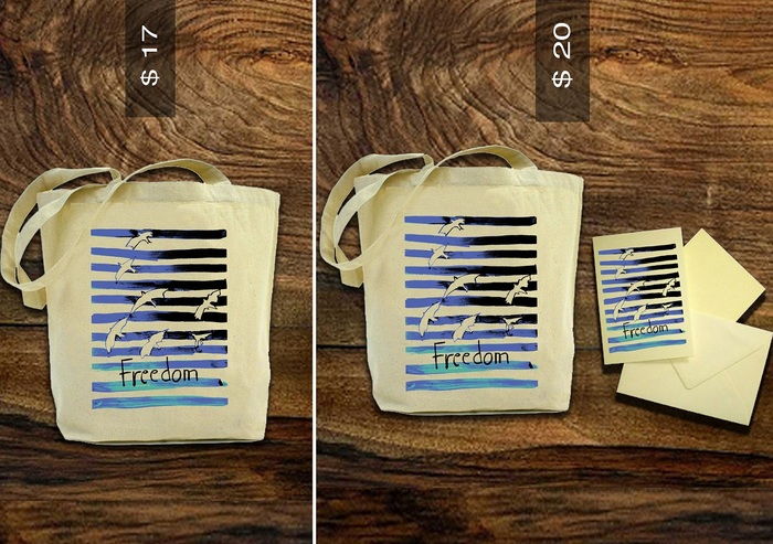 $17 Reward for Freedom Tote Bag, $20 Reward for Freedom Tote bag plus Freedom Post Card