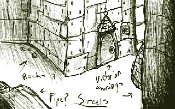 cosmos streets background sketch