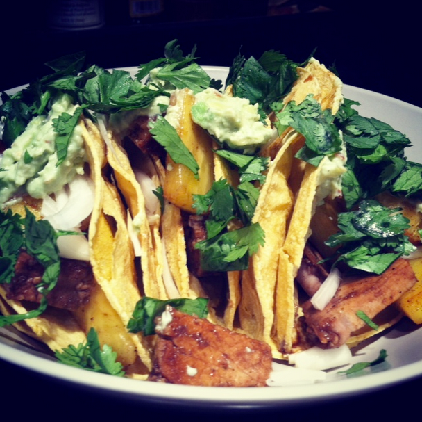Pork & Pineapple Tacos with Avocado & Greek Yogurt Crema and Fresh Cilantro