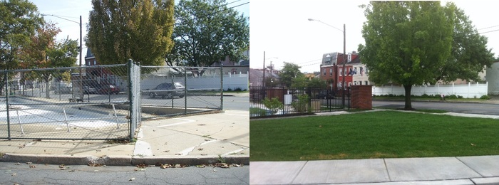 Rodney Park, before (left) and after (right)