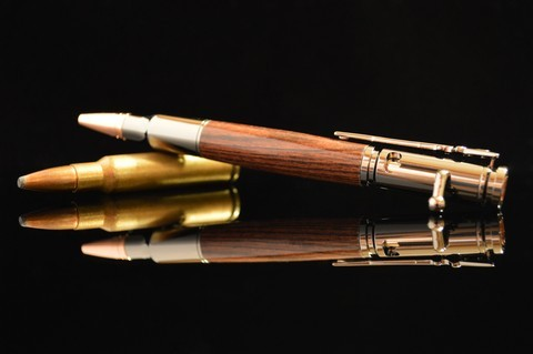 Gun metal plated 30 Caliber Bolt Action pen with Kingwood