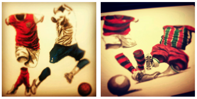 "$750 or more: One Original Work on Paper, sketched by the Artist Betirri for his internationally revered ""Futbol"" series PLUS more!"
