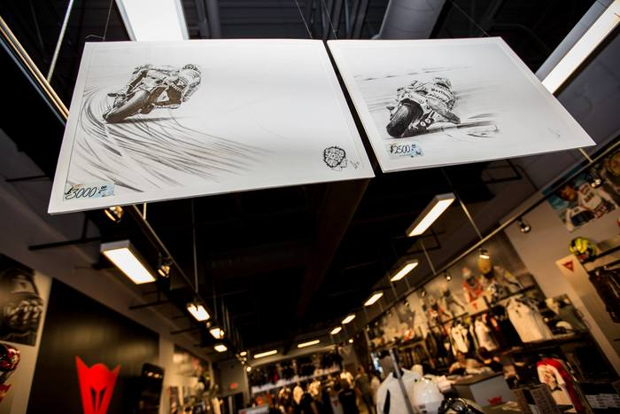 Marco Simoncelli and Eddie Lawson adorn the Chicago D-Store