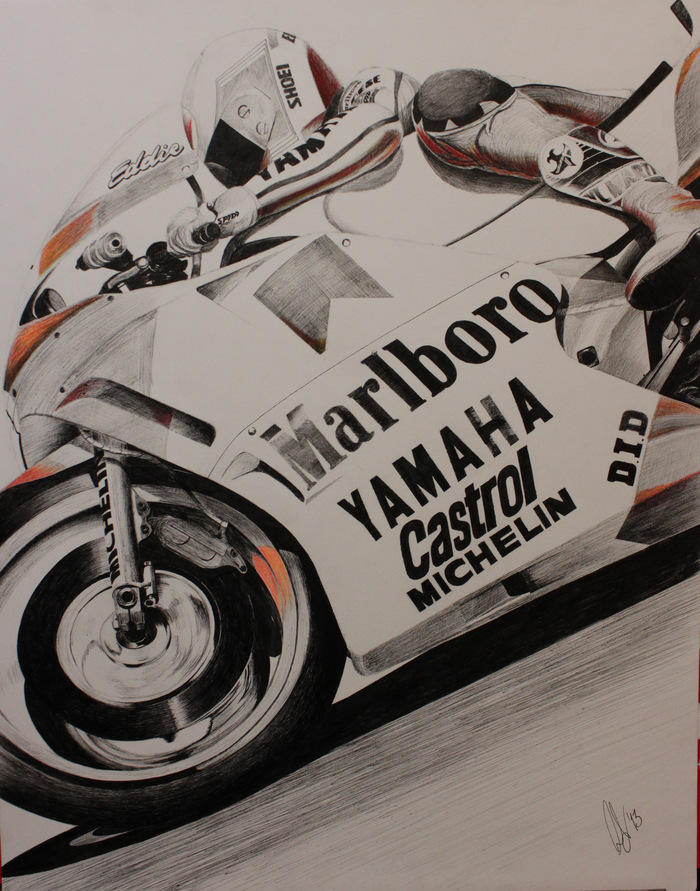 "Lawson at Laguna Seca 1988 - 19x24"" ink on bristol"