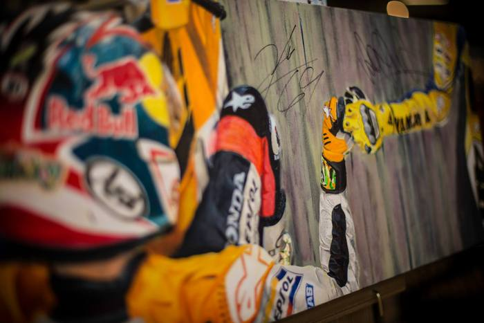 """Grace and Exhuberance"" signed by Nicky Hayden and Valentino Rossi. Oil on canvas - 12x36"""