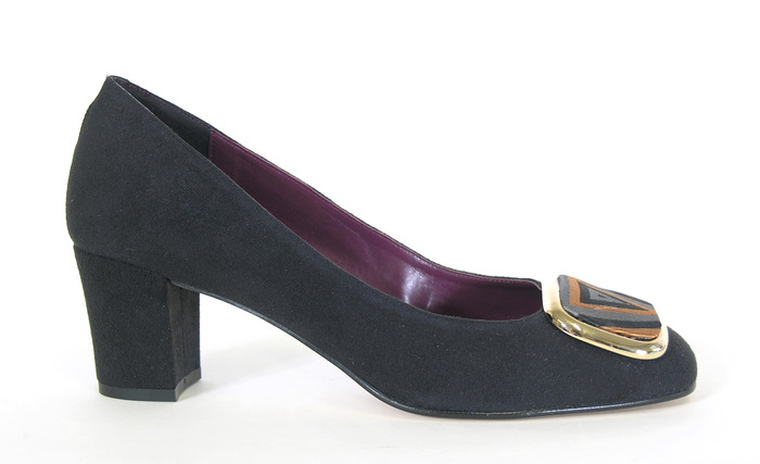 Frances - black faux suede