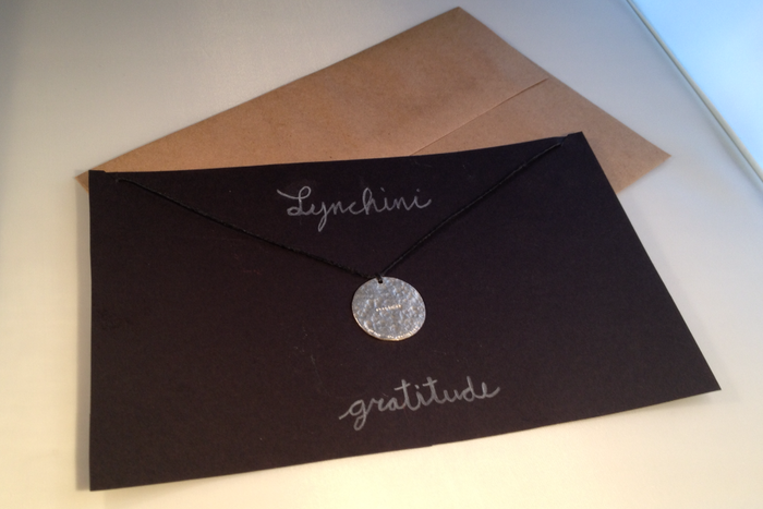 ".999 Fine Silver Pendant stamped ""GRATITUDE"" ""LYNCHINI SF"" 1.2 inches in diameter"
