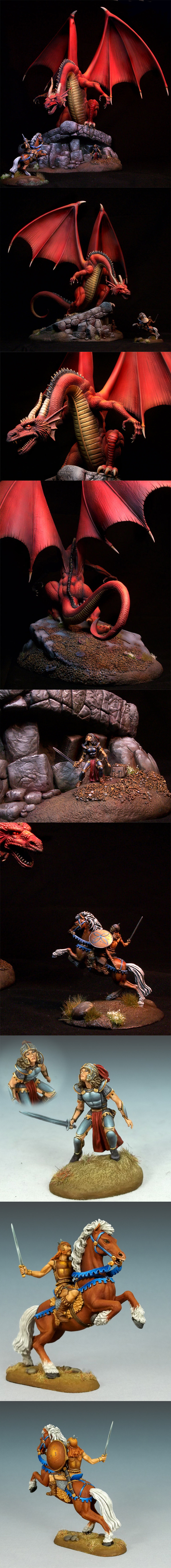 Painted Pictures from Aaron Lovejoy and Jessica Rich on this massive diorama project. The images of the adventurers at the bottom are to show what the models look like on their standard gaming bases if people want to go that route vs. the diorama bases.