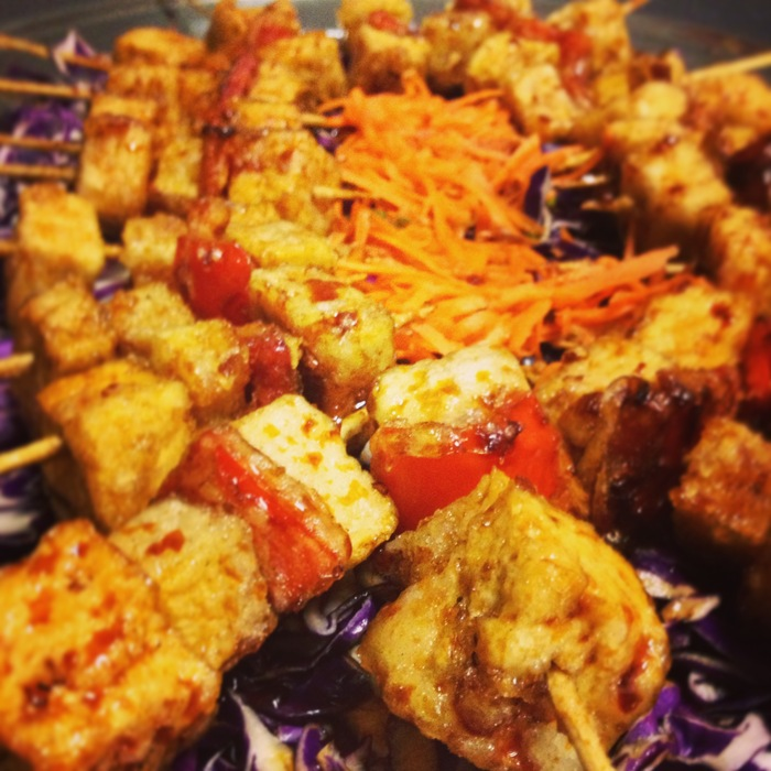 Teriyaki tofu skewers...(gluten free and vegan friendly) deep fried tofu, pineapple, and red pepper tossed in our Vernors teriyaki glaze.