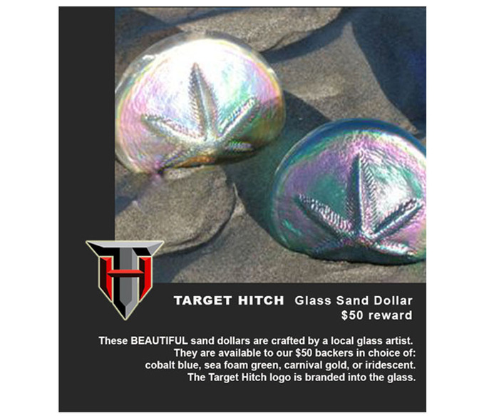 Backers at the $50 level will receive one of these gorgeous custom glass sand dollars stamped with the Target Hitch logo (see rewards for color options).