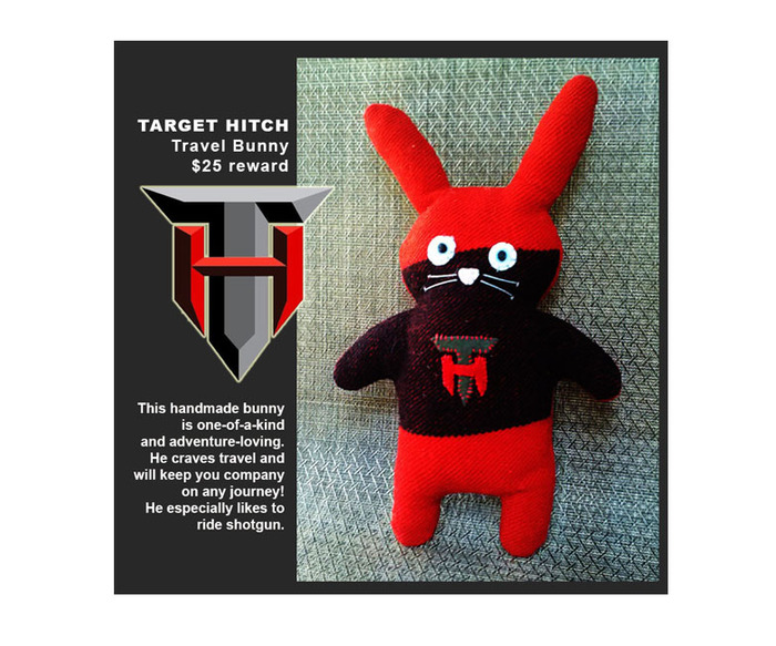 Creative Swag $25 Reward: One-Of-A-Kind Target Hitch Travel Bunny, each bunny is made of vintage blankets, colors and fabrics are a surprise, just like the look on his face!
