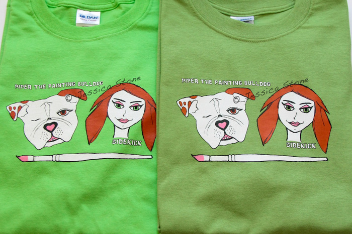Both shirt colors (Lime is on the left and Kiwi is on the right)