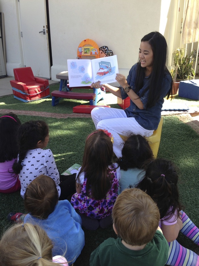 Karisa reading at a local preschool